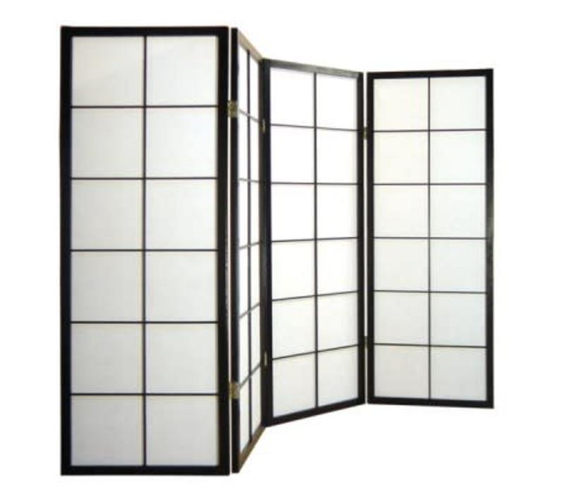 Fine Asianliving Japanese Room Divider L180cmxH130cm Shoji Rice Paper Black 4 Panel