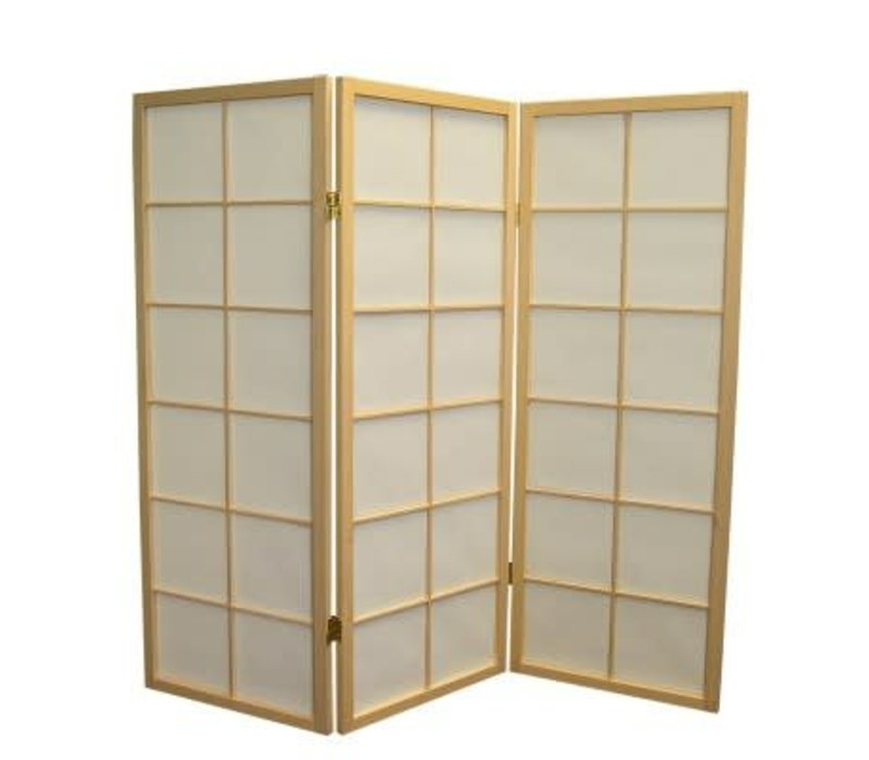 Fine Asianliving Japanese Room Divider L135cmxH130cm Shoji Rice Paper Natural 3 Panel