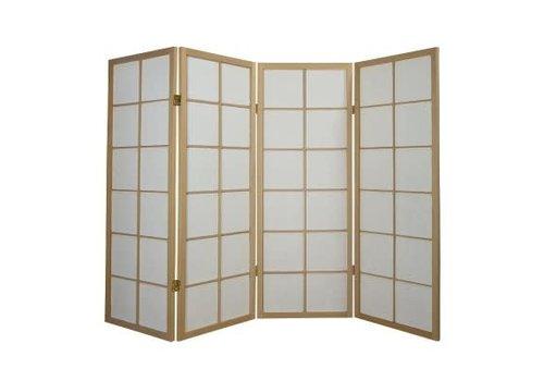 Fine Asianliving Japans Kamerscherm Shoji 4 panelen Naturel