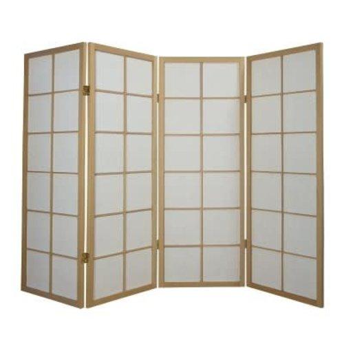 Japans Kamerscherm Shoji 4 panelen Naturel