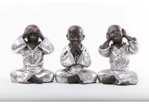Fine Asianliving Monniken Horen Zien Zwijgen Zwart-Zilver Set/3 Klein