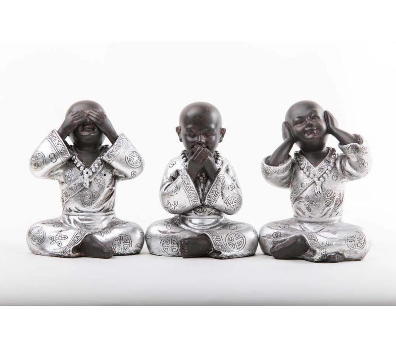Monniken Horen Zien Zwijgen Zwart-Zilver Set/3 Klein