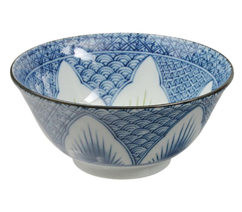 Japans Servies Mixed Bowls Kommen Blauw Bloem Porselein 15.5 x 7cm