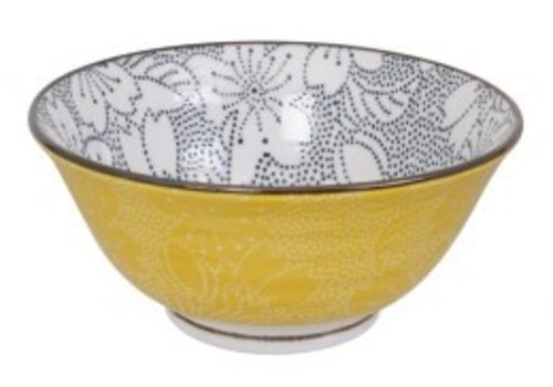 Fine Asianliving Mixed Bowls Dot Sakura 14.8x6.8cm Black/Yellow