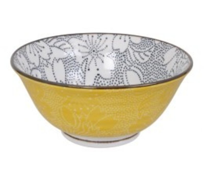 Mixed Bowls Dot Sakura 14.8x6.8cm Black/Yellow