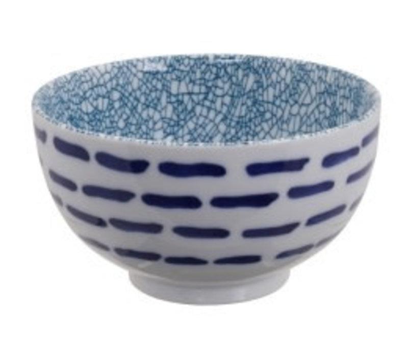 Mixed Bowls Okonomi Bowl Line White Green Crackle 13.2x7.4cm