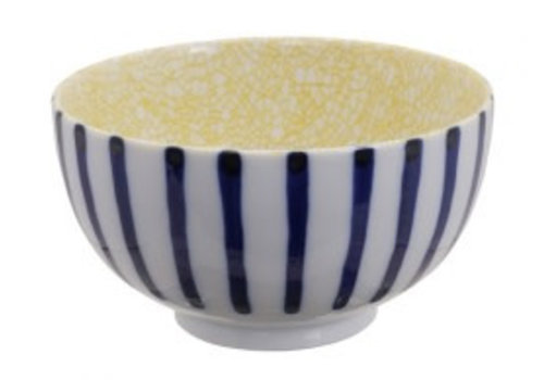 Fine Asianliving Mixed Bowls Okonomi Bowl Tokusa White Yellow Crackle 13.2x7.4cm