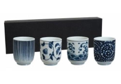 Fine Asianliving Tea Cup Set/4 BL/WH 6.5x7.5cm