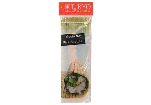 Fine Asianliving Japanse Sushi Mat Bamboe met Rijstspatel Lepel Natural 24 cm