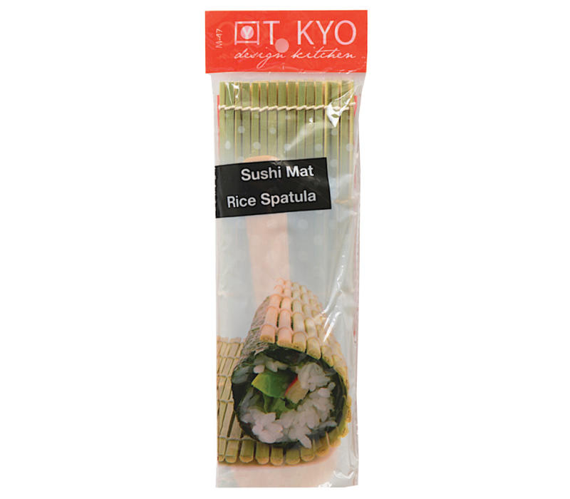 Japanse Sushi Mat Bamboe met Rijstspatel Lepel Natural 24 cm