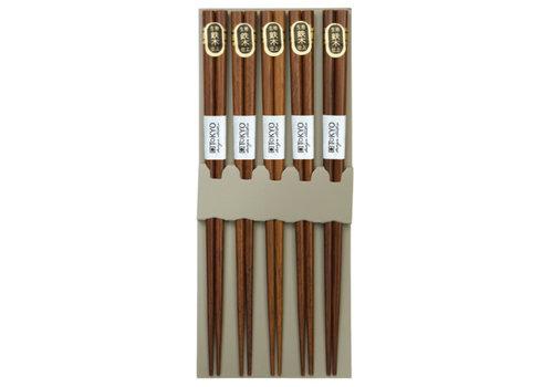Fine Asianliving Japanse Chopsticks Set/5 - Bruin Natural