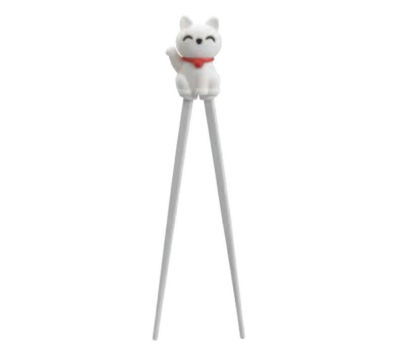 Chopsticks Children White Lucky Cat