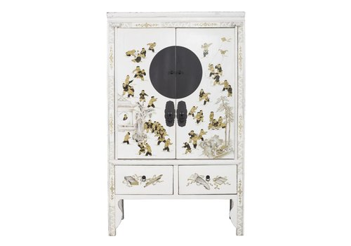 Fine Asianliving Antique Chinese Bridal Cabinet White Golden Paintings White