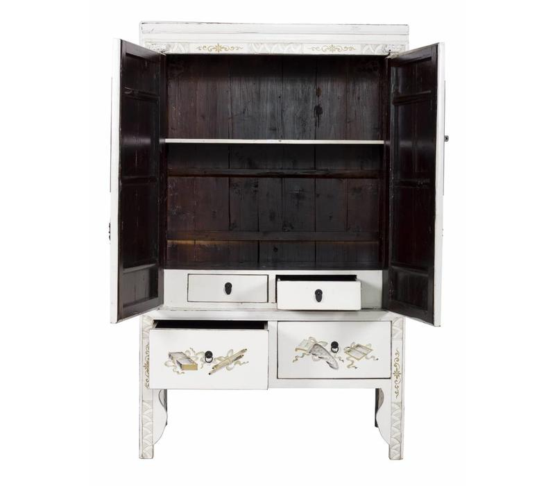 Antique Chinese Bridal Cabinet white with Golden Paintings