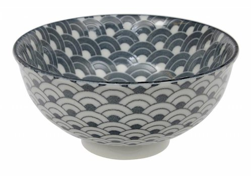 Fine Asianliving Tea Pattern Rice Bowl 11.3x5.2cm Grey Wave