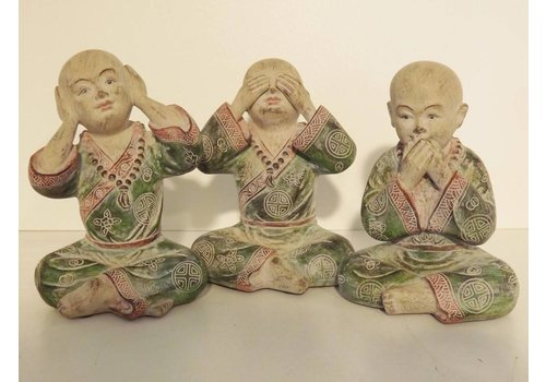 Fine Asianliving Poly Marble Wood Monk Hear, Speak, See No Evil 15 cm