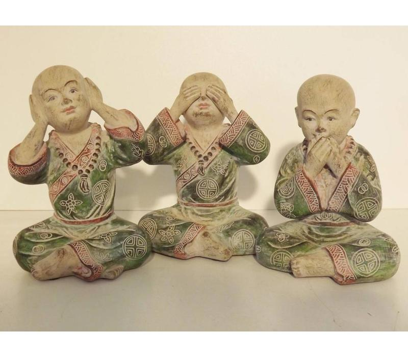 Poly Marble Wood Monk Hear, Speak, See No Evil 15 cm