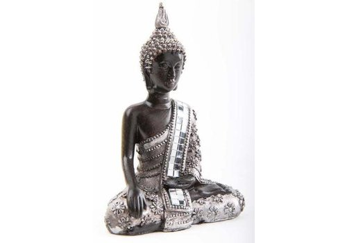 Fine Asianliving Thai Meditating BuddhaWhite Mirror-Like Details Black-Silver