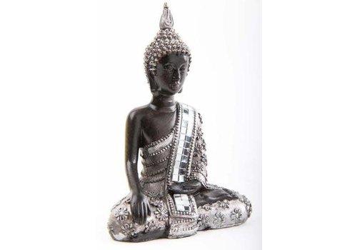 Fine Asianliving Thaise Boeddhabeeld Mediterend met Glas Zwart-Zilver