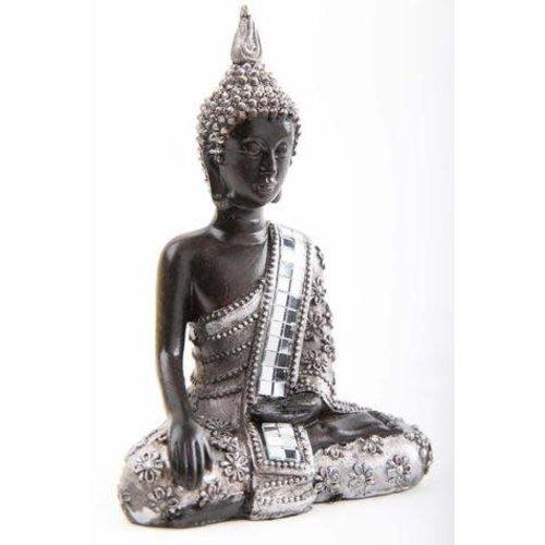 Thaise Boeddhabeeld Mediterend met Glas Zwart-Zilver