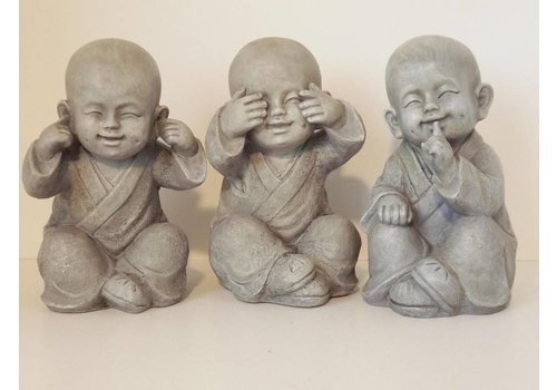 Fine Asianliving Young Monks See, Hear, Speak No Evil Set 3 /12 cm
