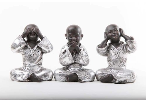 Fine Asianliving Hear, Speak , See No Evil Monks Black-Sliver Medium