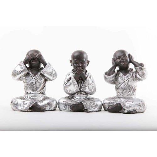 Monniken Horen Zien Zwijgen Zwart-Zilver Set/3 Medium