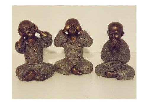 Fine Asianliving Monnik Horen Zien Zwijgen Set/3 15 cm Poly Brons
