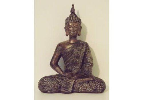 Fine Asianliving Mediterende Thaise  Boeddha Donker Goud
