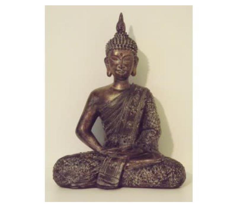 Thai Boeddha Dark Gold Zittend 29 cm
