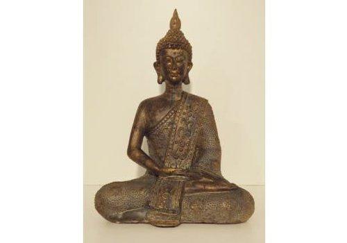 Fine Asianliving Zittende Thai Boeddha Poly Brons 20 cm