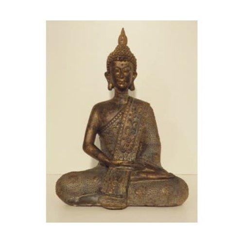 Zittende Thaise Boeddha Poly Brons 20 cm