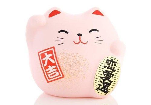 Fine Asianliving Lucky Cat Maneki Neko Klein - Love Roze 5.5cm