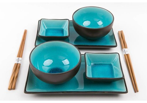 Fine Asianliving Glassy Blue Sushi Set voor Twee Personen Giftset