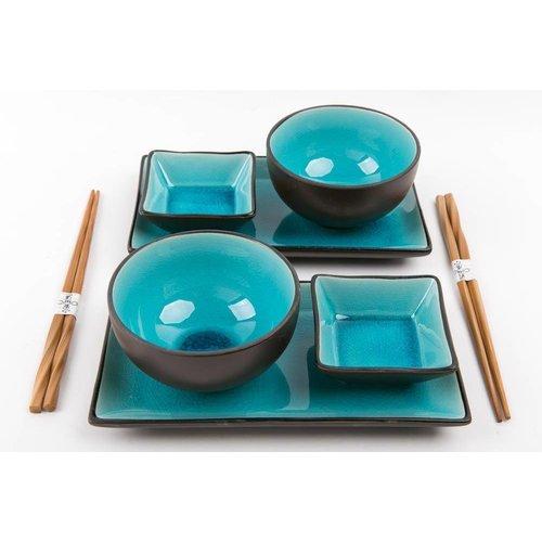 Glassy Blue Sushi Set voor Twee Personen Giftset