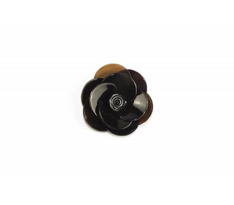 Broche Buffelhoorn Flower Black