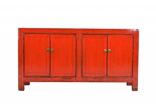 Fine Asianliving Antique Chinese sideboard with four doors red  -Shanxi, China