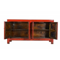 Buffet chinois antique à quatre portes rouge -Shanxi