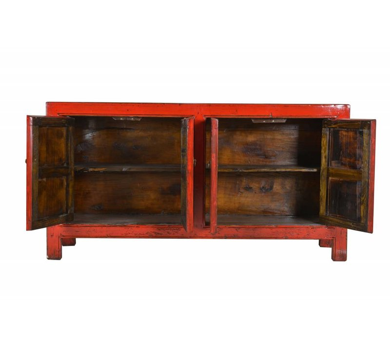 Antique Chinese sideboard with four doors red  -Shanxi, China
