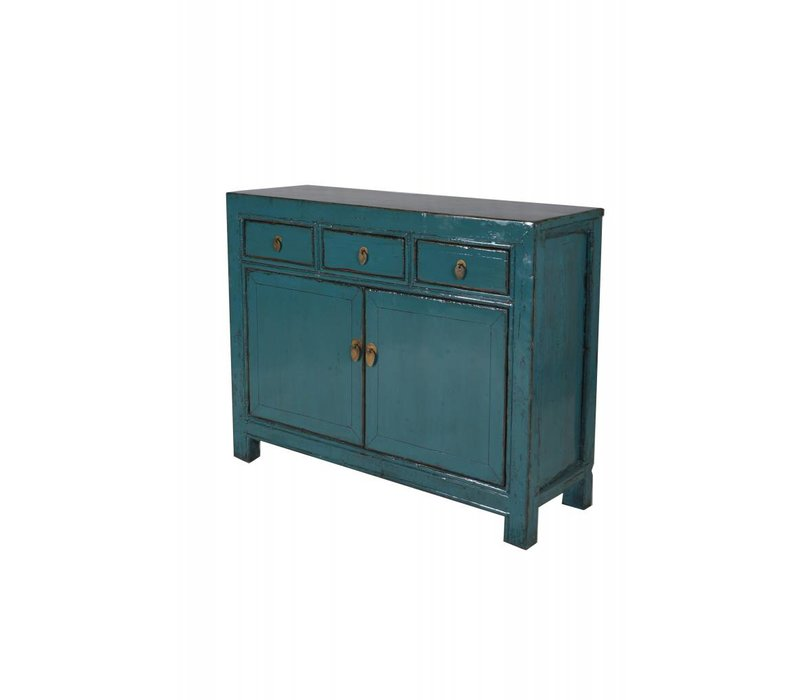 Antique Chinese sideboard with drawers Teal -Gansu, China