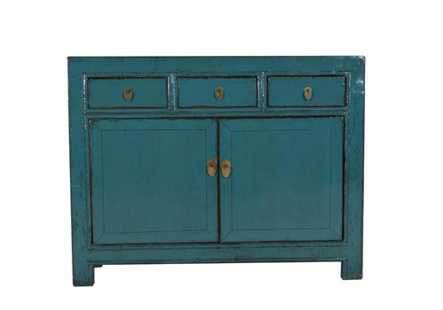 Fine Asianliving Antiek Chinees Dressoir Met Drie Laden Teal - Gansu, China