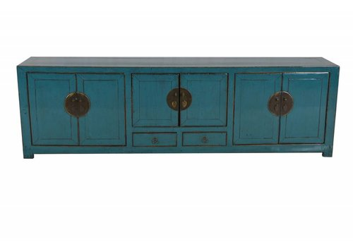 Fine Asianliving Chinese TV Kast Glassy Teal  (1900-1925) - Beijing, China