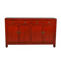 Buffet chinois antique rouge vitreux-Dongbei