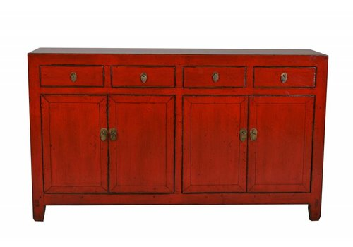 Fine Asianliving Chinees Dressoir Rood Glassy  (1900-1925) - Dongbei, China