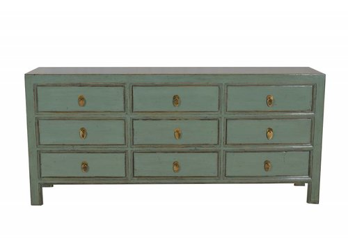 Fine Asianliving Chinesisches Sideboard Kommode 9 Schubladen Mint - Peking, China