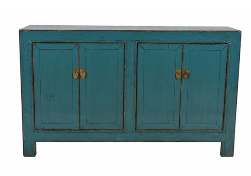 Fine Asianliving Chinese Antique sideboard White four doors Teal -Gansu, China