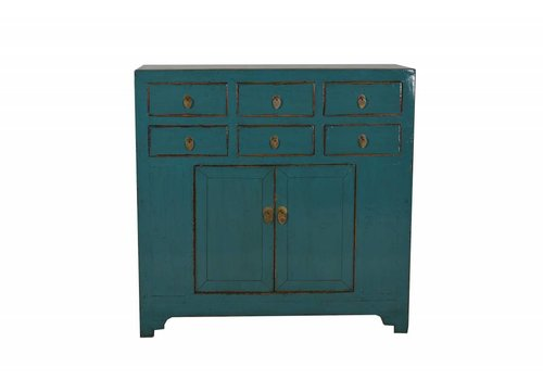 Fine Asianliving Chinees Dressoir Teal 6 Lades (1900-1925) - Shandong, China