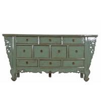 Chinese Sideboard White ten drawers Mint Green  - Gansu, China