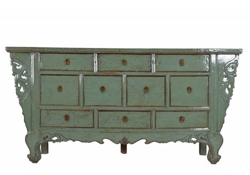 Fine Asianliving Chinees Dressoir Met tien lades Mint Groen  - Gansu, China