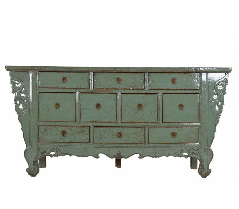 Chinese Sideboard with ten drawers Mint Green  - Gansu, China